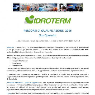 Idroterm e Eteam: percorsi formativi di qualificazione gas operator, prosecuzione corso UNI 11554