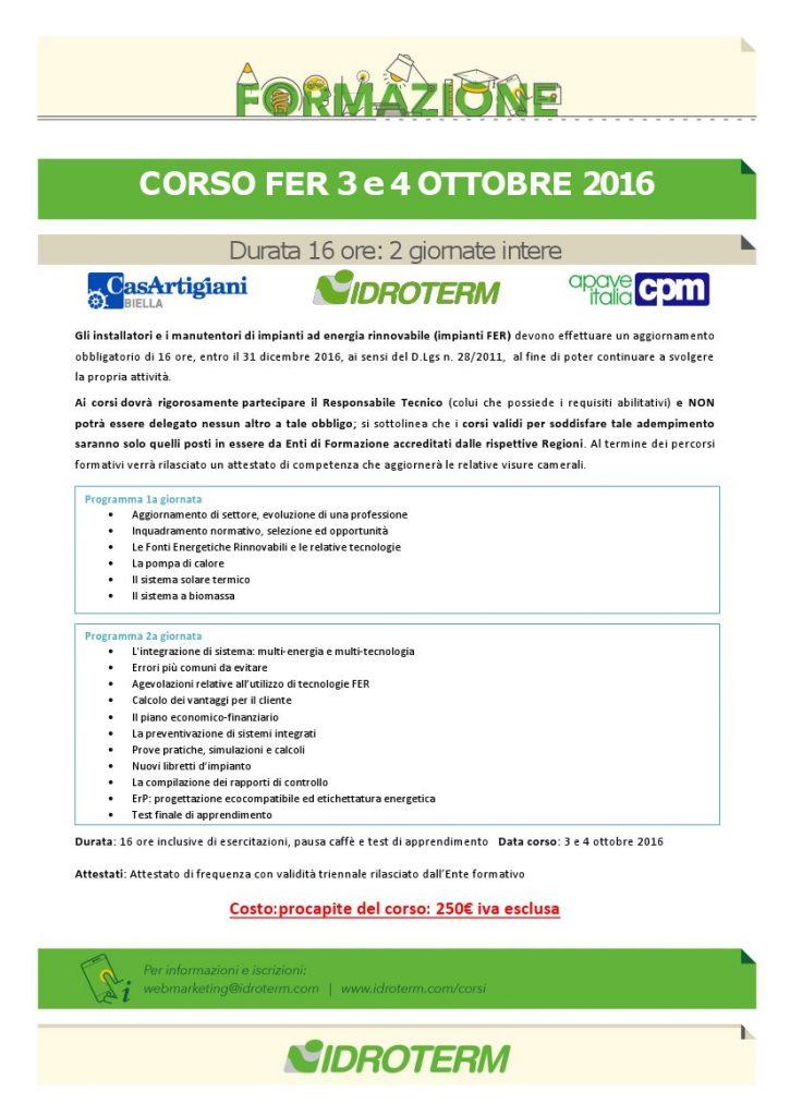 Ultimi giorni di iscrizione al Corso Fer del 3 e 4 ottobre 2016