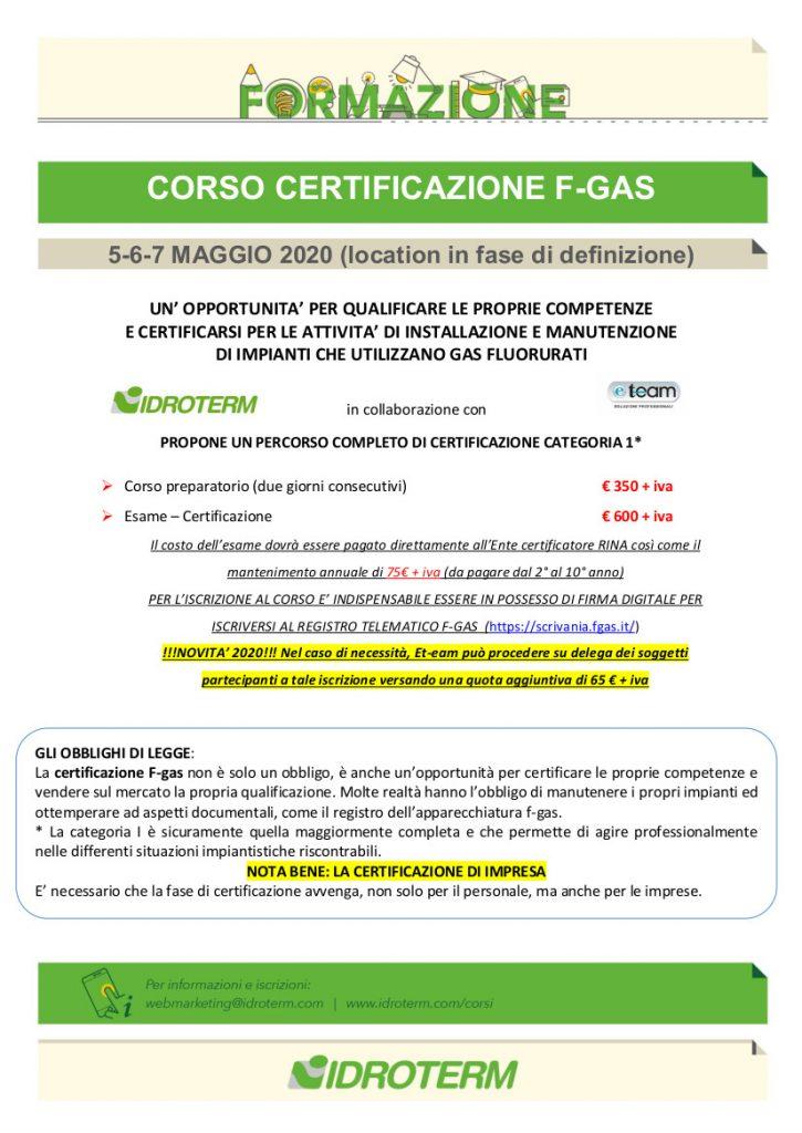 Corso Certificazione F-gas 5-6-7 maggio 2020